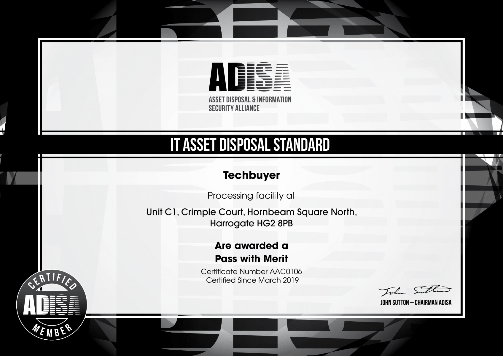 Techbuyer ADISA Certificate